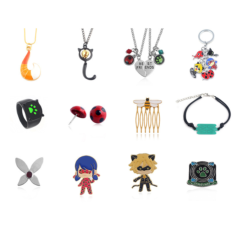 Ladybird lovely Contracted necklace Ladybug girl black cat noir same fashion jewelry for men women cartoon cosplay charm jewelry