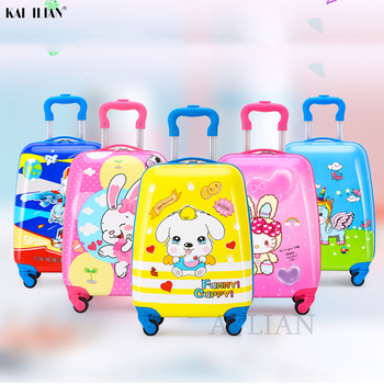 New kids rolling luggage travel suitcase spinner wheels trolley luggage bag children's cabin carry on suitcase cartton animal