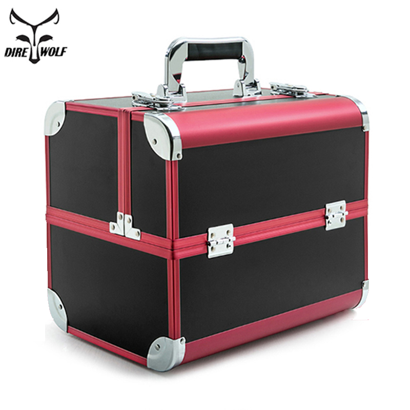 Портативная профессиональная косметичка, чемоданчики для косметики, большая емкость, женские дорожные сумки для макияжа, коробка для маникюра, косметический Чехол Косметички      АлиЭкспресс