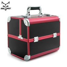 Portable Professional Cosmetic Bag Suitcases For Cosmetics Large Capacity Women Travel Makeup Bags Box Manicure Cosmetology Case waterproof cloth cosmetic bag professional makeup large capacity double box shoulder dressing cosmetics makeup box