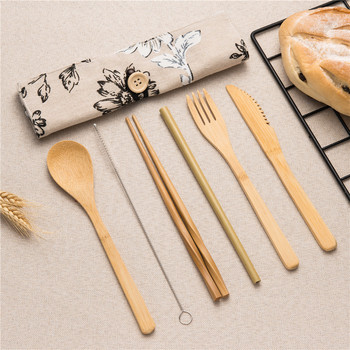 7/8/10pcs/set Reusable Bamboo Wooden Cutlery Set Fork Eco-Friendly Cutting Bag Office Worker Cooking Kitchen Tool Dinnerware Set 2