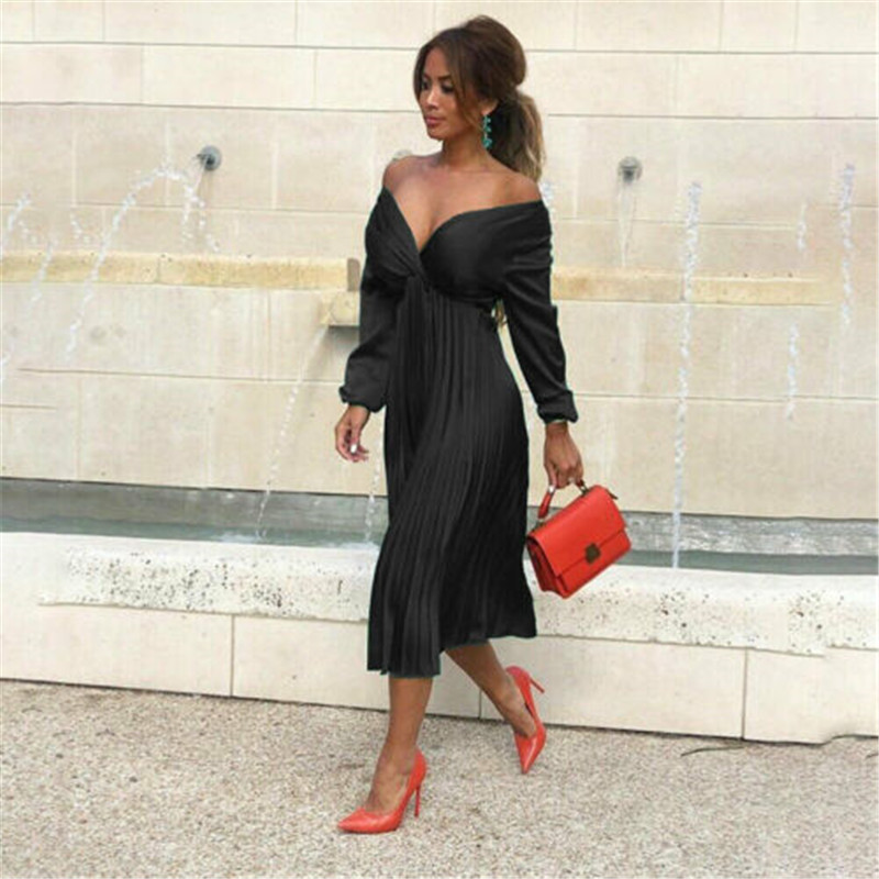 2019 Autumn Women Dresses Elegant Ladies Long Sleeve Pleated Dress For Women Black Green Sexy V Neck Casual Office Lady Dresses