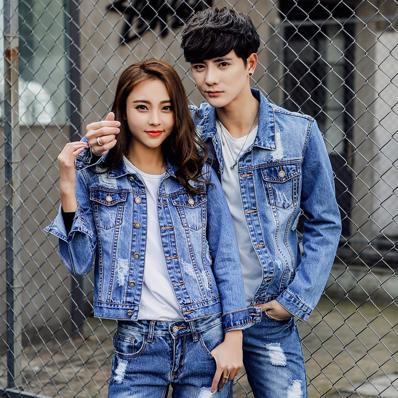 Autumn And Winter Korean-style With Holes Cowboy WOMEN'S Suit Loose-Fit Couples Set Jeans Coat Long Sleeve Jacket Two Pieces