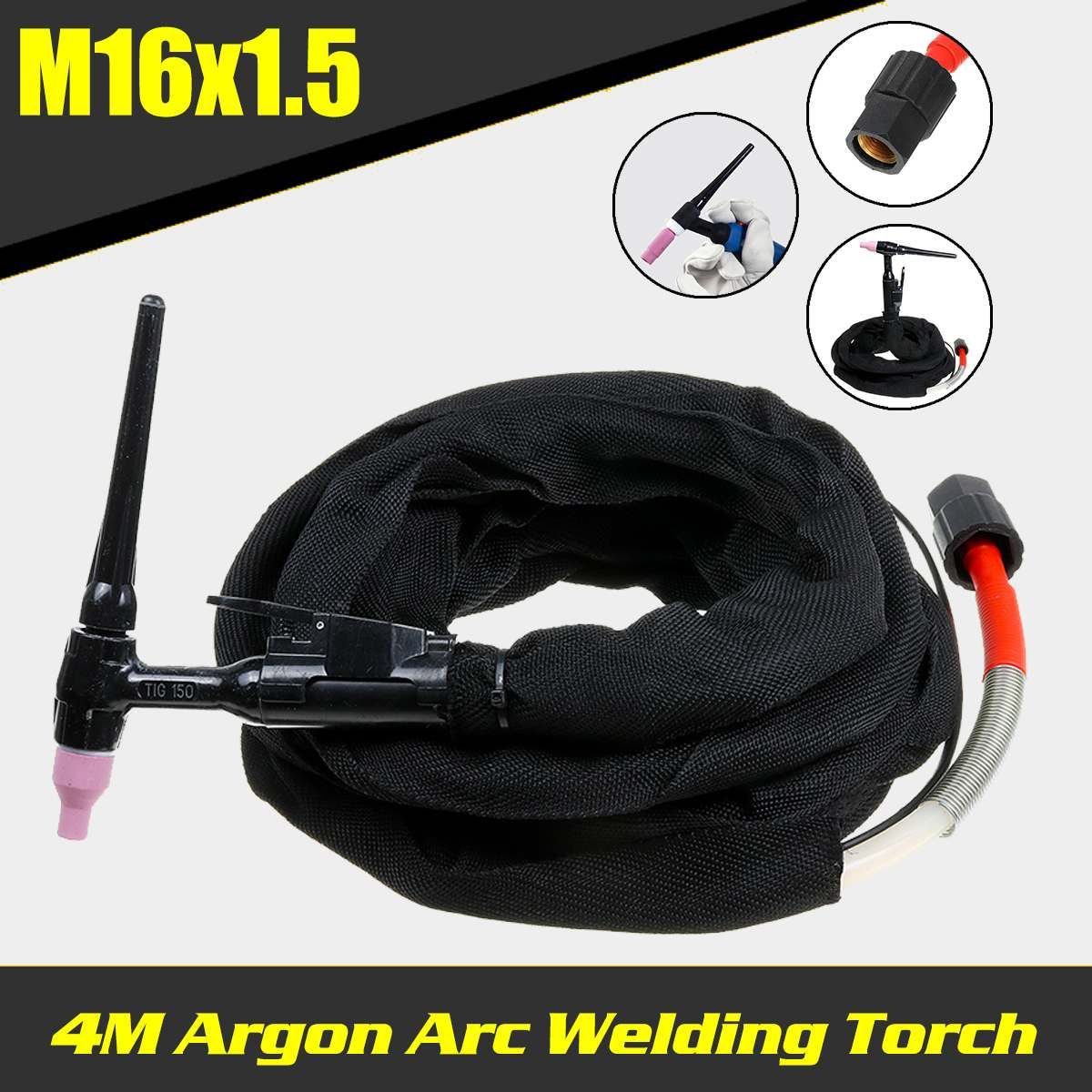 4M Tig Argon Arc Welding Plasma Torch M16x1 5 Interface  Cooled TIG Welding Torch Welding Machine Accessories For arc