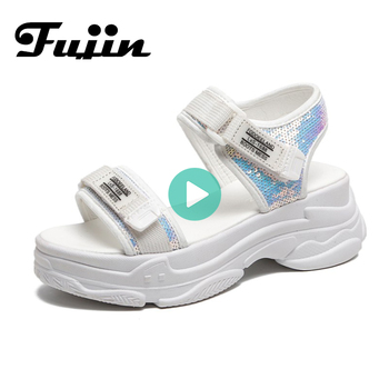 Fujin High Heeled Sandals Female Summer 2020 Women Thick Bottom Shoes Wedge with Open Toe Platform Womens