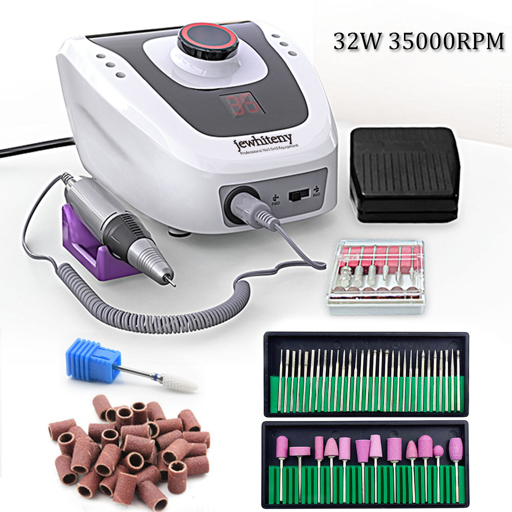 32W 35000RPM Electric Nail Drill Manicure Machine File New Version Of Copper Handle Nail Tool Kit Electric Nail File With Cutter