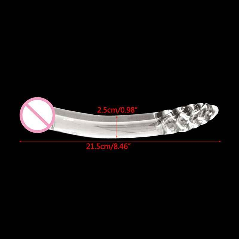 Crystal Glass Pleasure Wand Dildo Penis Smooth Glider Curved Glass Clear