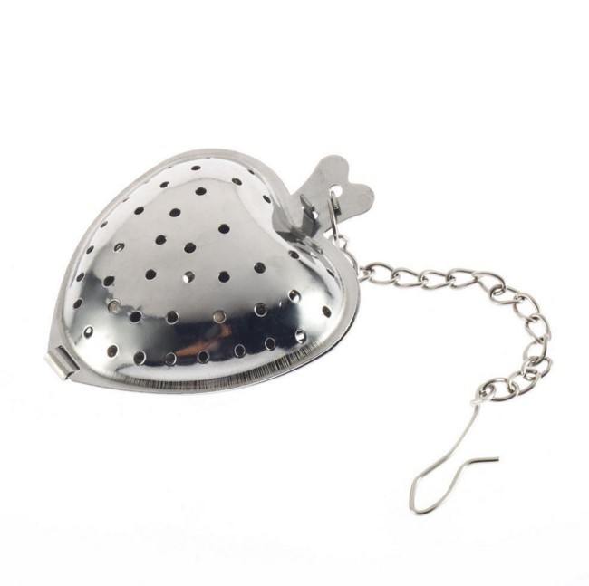 Heart Shaped Tea Infuser Spoon Strainer Stainless Steel Steeper Handle Shower