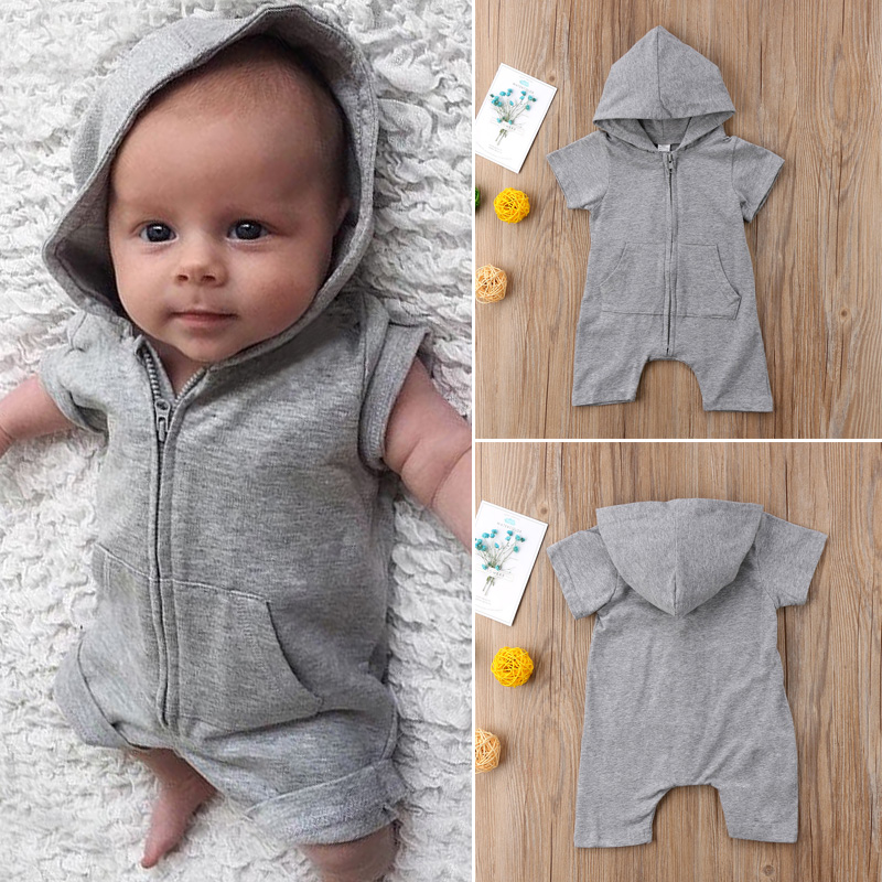 Brand New Newborn Toddler Baby Boy Girl 0-24M Zip Up Romper Hooded Clothes Short Sleeve Outfits Solid Summer Sunsuit Clothing