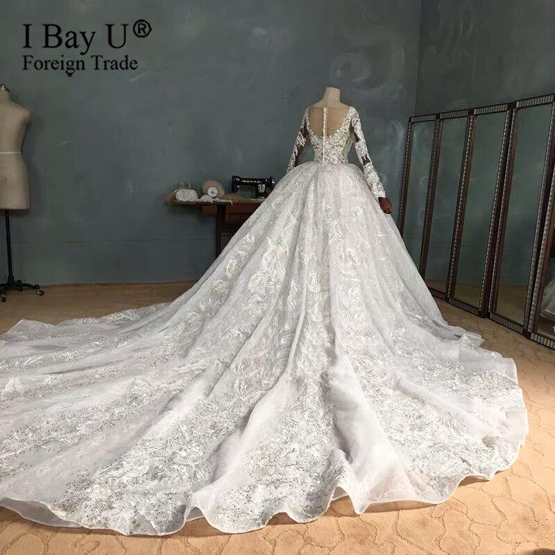 Image 2 - Real Work Wedding Dress 2020 Luxury Full Beading Wedding Dresses Long Sleeves New Bridal Dress noviasWedding Dresses   -