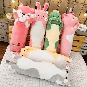 Image 4 - 1pc 70/90/120CM Cartoon zwierząt dinozaur jednorożec kot zabawki pluszowe nadziewane miękkie długie poduszka do spania lalki prezent urodzinowy dla dzieci