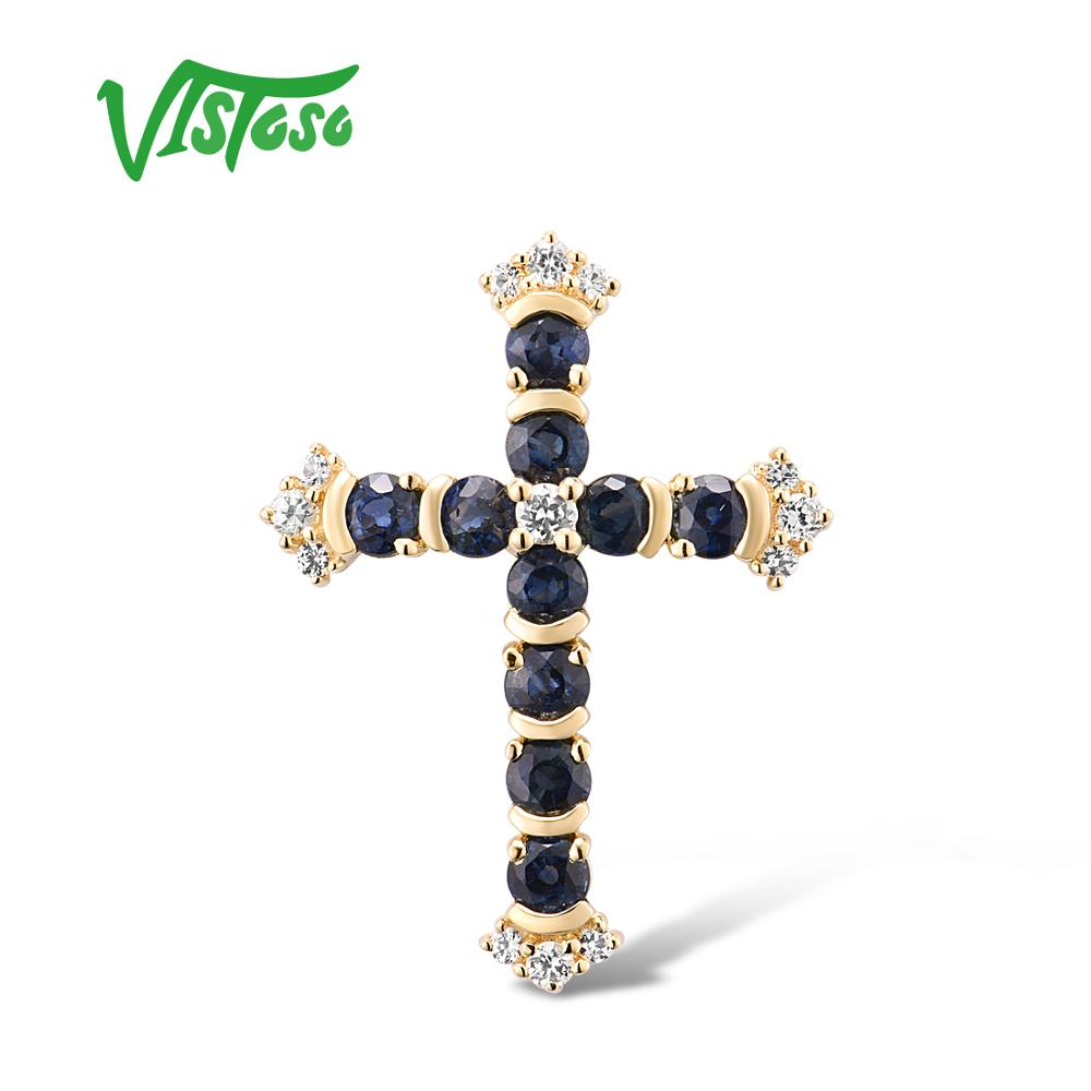 VISTOSO Gold Pendants For Women Authentic 14K 585 Yellow Gold Cross Pendant Blue Sapphire White Sapphire Elegant Fine Jewelry