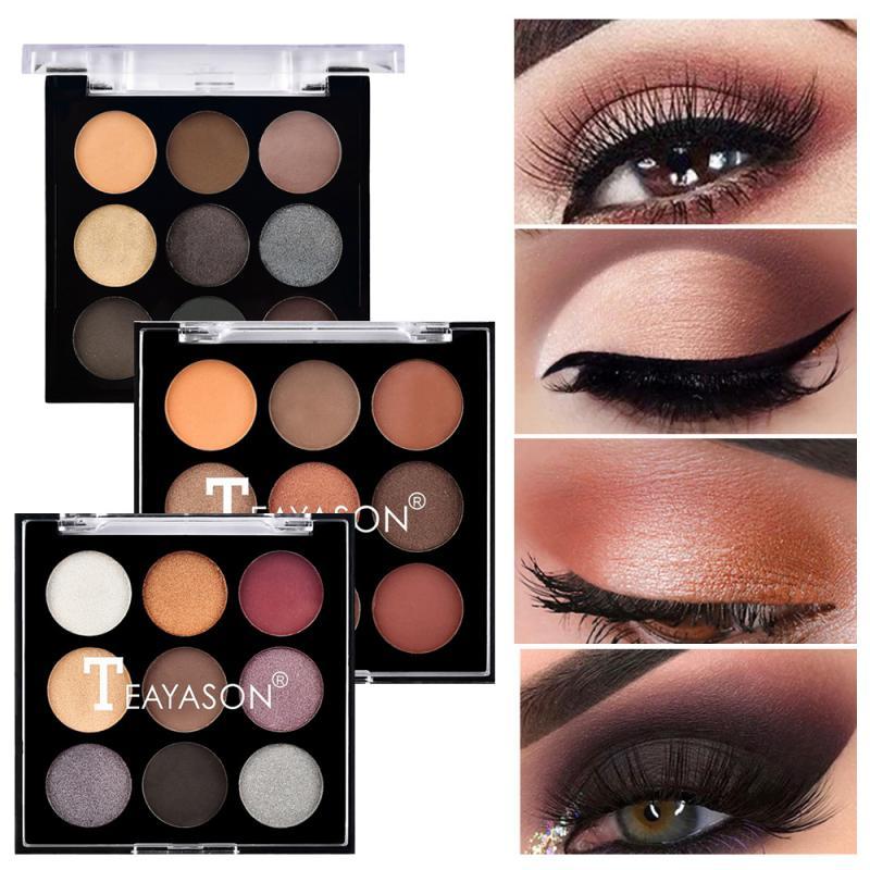 9 Color Matte Glitter Eyeshadow Palette Shimmer Waterproof Long Lasting Eyeshadow Palette Fashion Eye Makeup Powder TSLM2