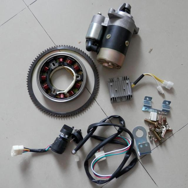 3KW ELECTRIC START KIT FOR YANMAR L48 2KW DIESEL STARTER MOTOR  KEY SWITCH  FLYWHEEL RING GEAR AVR MAGNETIC DRUM REFITING PARTS
