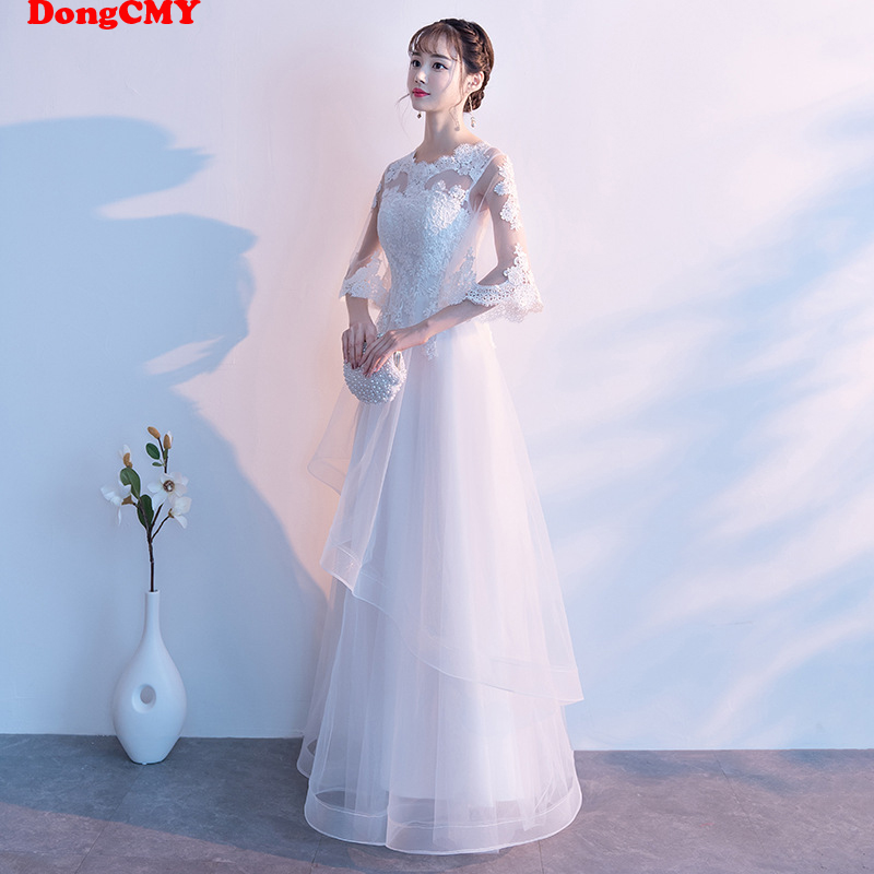 DongCMY New White Color Long   Bridesmaid     Dresses   Bride Lace Plus Size Gown For Wedding