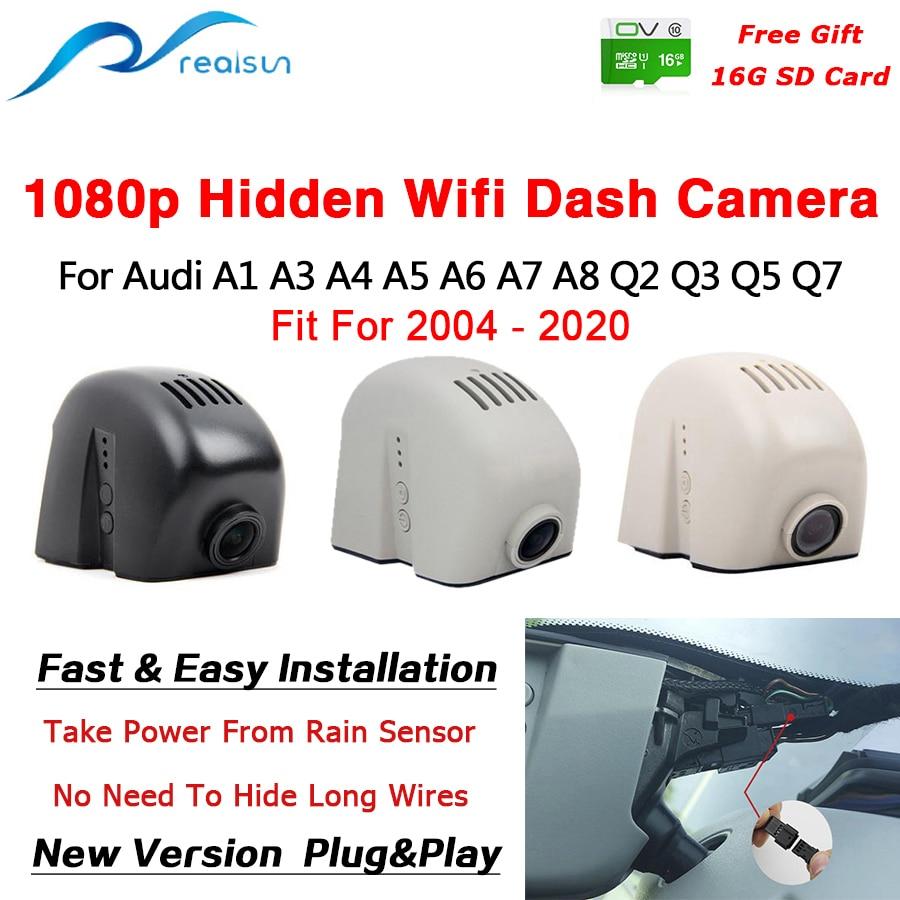 Realsun 1080p carro dvr wifi câmera traço gravador de vídeo lente dupla fácil instalação para audi a1 a3 a4 a5 a6 a7 a8 q2 q3 q5 q7