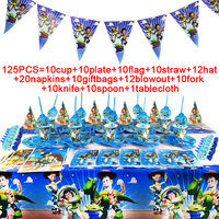 Toy Story Theme Buzz Light Year Kids Party Supplies Set Paper Straws Hat Flag Birthday Decorations Kids Party Supplies Blowouts