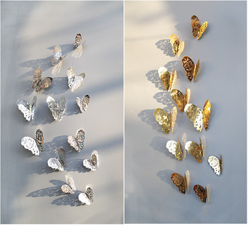 12Pcs/lot 3D Hollow Golden Silver Butterfly Wall Stickers Art Home Decorations Wall Decals for Party Wedding Display Butterflies image