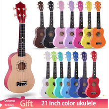 21-Polegada ukulele de madeira presente de natal ukulele crianças quatro cordas pequena guitarra cor ukulele guitarra viagem kit ukulele