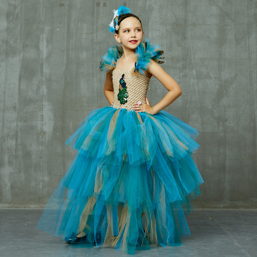 LIMITED EDITION Luxury Girls Peacock Tutu Dress with Matching Headband Multi-layer Kids Pageant Tulle Ball Gowns Peacock Costume (15)
