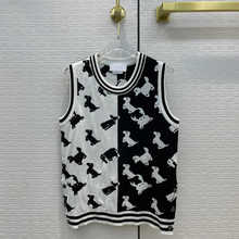 Preppy Style Dog Jacquard Knitted Tops for Women 2021 Summer New O-neck Sleeveless Tops Contrast Design Top Quality Knitted Tops