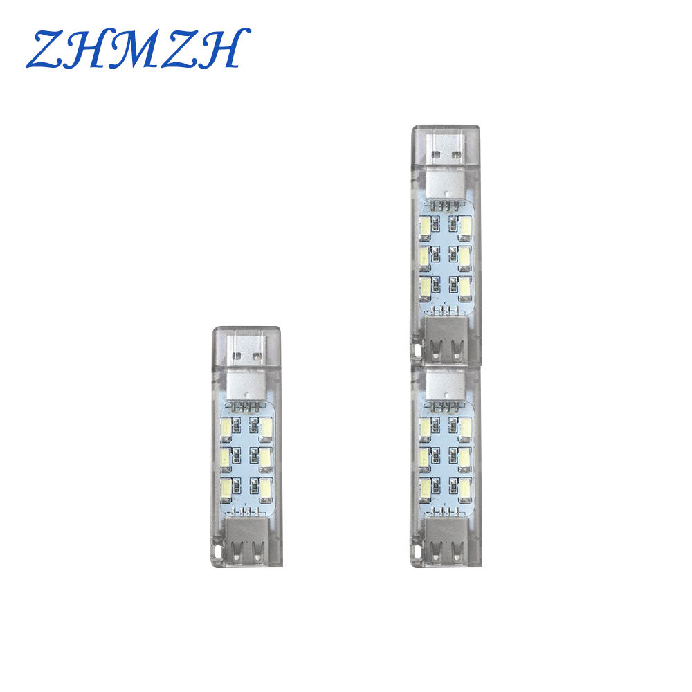 DC5V USB LED Night Light Male To Female Interface 12LEDs Mini Lamp Stackable Dual Emission Reading Light Ultrabright Book Light