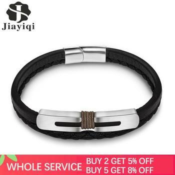 Jiayiqi, pulsera de acero inoxidable a la moda para hombres, pulsera trenzada de cuero, cadena, brazalete, cierre magnético, pulsera, regalo de fiesta de hip hop