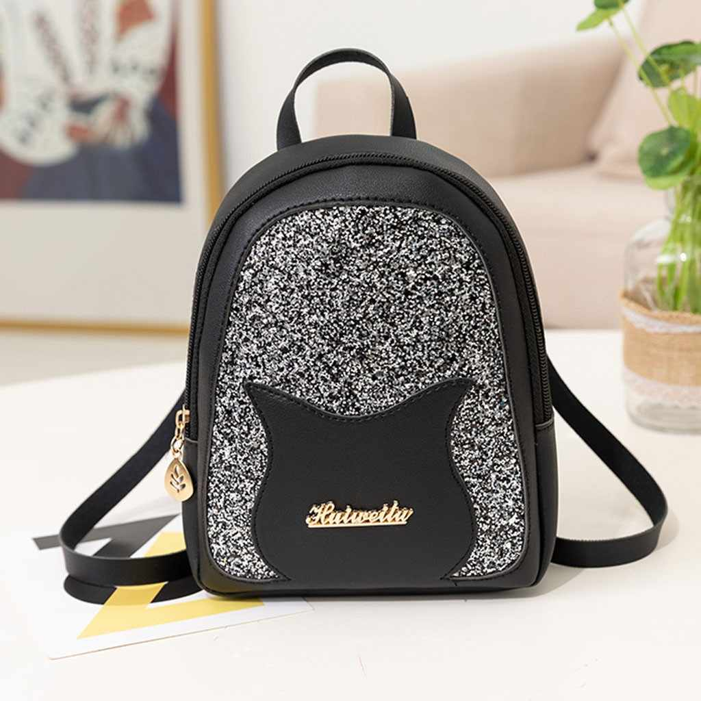 Lady Shining Sequins Small Backpack Letter Purse Mobile Phone PU leather Backpack Multi-Function Mini Travel School Bag Mochilas