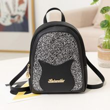 Lady Shining Sequins Small Backpack Letter Purse Mobile Phone PU leather Backpack Multi-Function Mini Travel School Bag Mochilas(China)
