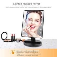 Зеркала, вращение на 360 градусов, зеркало для макияжа, регулируемое, 16/22 светодиодный, s, освещенный светодиодный сенсорный экран, портативные светящиеся зеркала, Прямая поставка