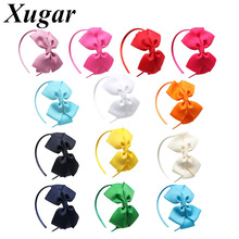13Pcs/Lot Solid Grosgrain Ribbon Bow Hairband for Girls Double Layers Hair Bows Headband Handmade Kids Accessories
