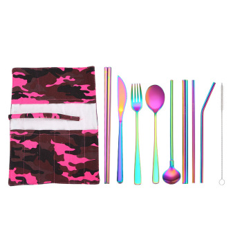 20set/lot Colorful 9pcs Portable Stainless Steel Cutlery Suit Reusable Straw and Chopstick Travel Kn