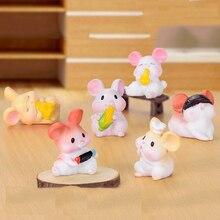Cute Resin Mouse Figurine Mini Cartoon Mice Rat Toy Fairy Garden Animal Micro Landscape Crafts Desktop Ornament Statue