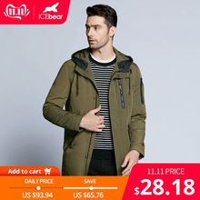 ICEbear 2019 dei nuovi uomini di autunno giacca corta cappotto casuale cappotto con cappuccio giacche uomo di alta qualità da uomo in tessuto di cotone MWC18228D