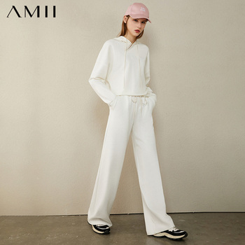 AMII Minimalism Autumn Causal Women Hoodies Set Embroidery Hooded Loose Sweater Hoodies Solid ElasticWaist Female Pants 12040389 1