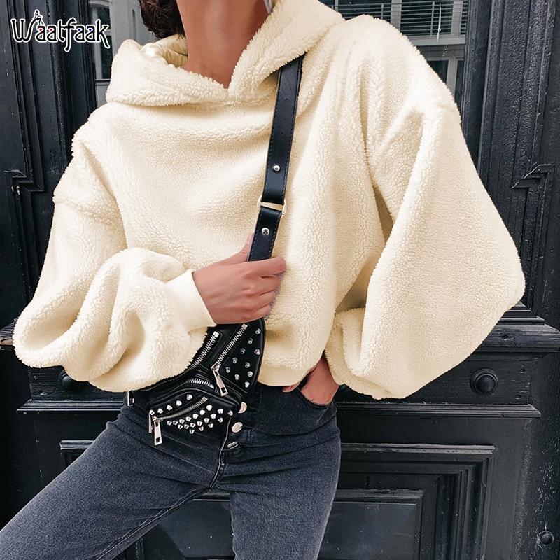 Waatfaak Harry Fluffy Fleece Oversized Hoodies Women Loose Lazy Hoodie Korean Long Sleeve Harajuku Sweat Femme Pullover Winter