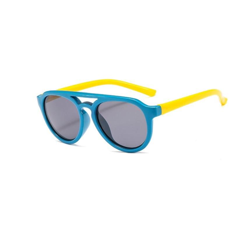 Детские солнечные очки мальчикам и девочкам, силиконовые очки солнечные очки тёмные очки для От 4 до 12 лет Детская R9CF - Цвет линз: 2