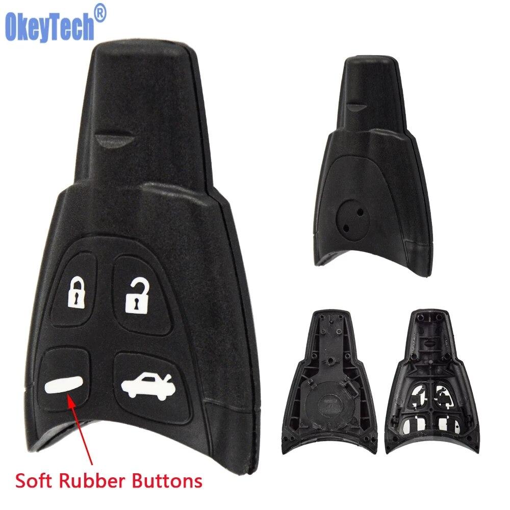 Чехол для автомобильного ключа OkeyTech с 4 кнопками, чехол-брелок для SAAB 93 95 9-3 9-5 WF 4, сменная мягкая кнопка, дистанционное управление без ключа