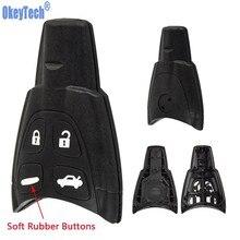 Okeytech chave do carro de 4 botões, estojo da chave do carro para saab 93 95 9-3 9-5 wf 4 escudo de chave remoto de entrada sem chave, substituição macia do botão
