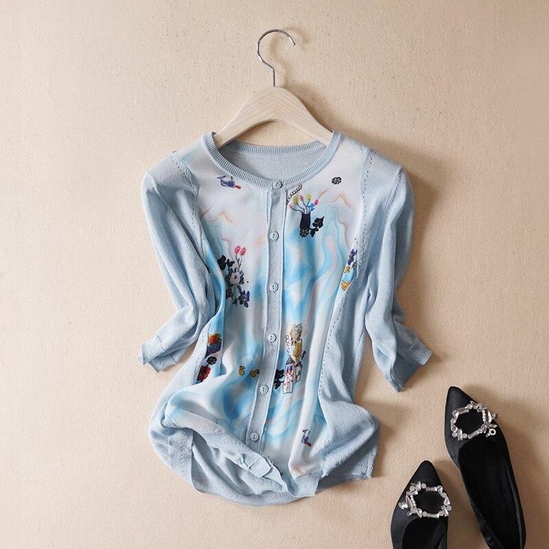 Nuevo viento en primavera y verano cuello en v impreso mangas de seda aire acondicionado cardigan se previene en la ropa