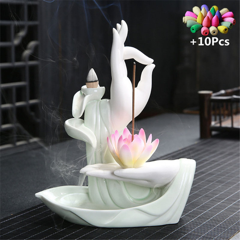 With 10Pcs Cones Purple Clay Incense Burner Buddha Hand Backflow Incense Burner Lotus Incense Burner