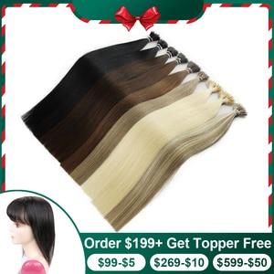 """Image 1 - Isheeny 14 """"18"""" 22 """"Remy boncuklu postiş saç ekleme Nano halka linkler insan saçı düz 9 renkler sarışın avrupa saç"""