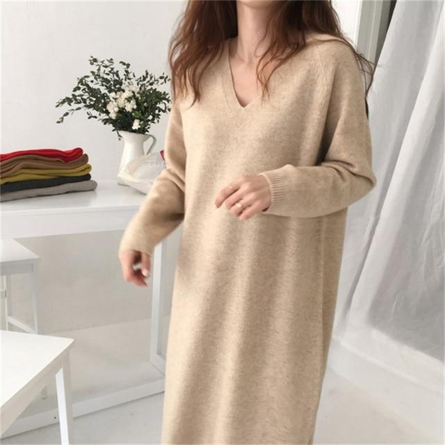 BGTEEVER Casual V-neck Loose Long Sweater Dress Women Thick Autumn Winter Dress Female Full Sleeve Basic Jumper Dress femme 2019