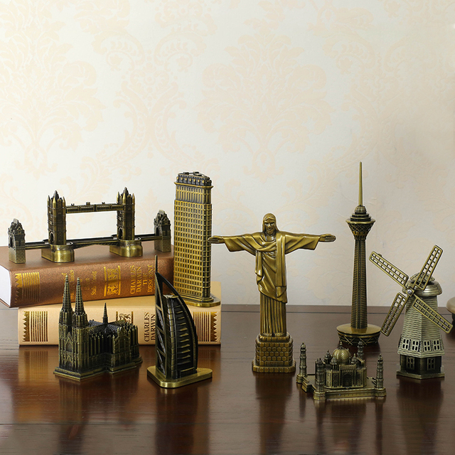 ERMAKOVA Metal World Famous Building Architecture Model Statue Landmark Tourist Souvenir Home Office Decoration 2
