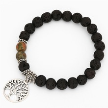 Natural Lava Volcanic Stone Retro Mens Bracelet Life Tree Pendant Multicolor Rock Beads