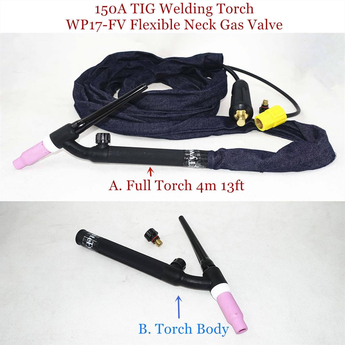 150A TIG Welding Torch WP17-FV Flexible Neck Gas Valve GTAW Gas Tungsten Arc Welding Gun Argon Air Cooled WP17 TIG Torch