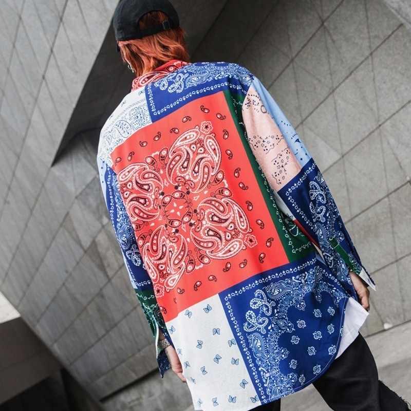 גבוהה רחוב היפ הופ Mens בבאגי חולצות בציר פולק פרחוני מודפס מקרית Streetwear חולצות Loose אופנה זכר ארוך שרוול חולצות
