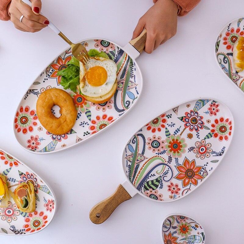 18 pièces manche en bois rond en céramique plaque papillons en amour avec fleur Steak plaque plat occidental fruits assiette dessert assiettes ensembles