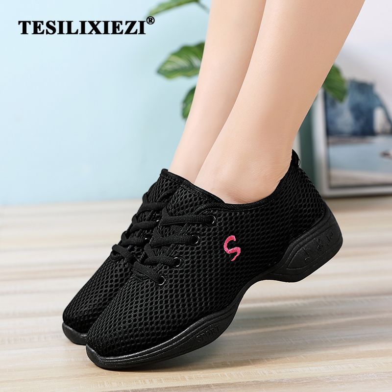 Lightweight Fitness Trainers Dancing Practice Shoes Cushioning Modern Jazz Dance Sneakers Women Breathable Mesh Lace Up