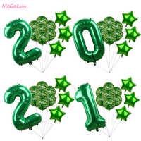 Globo de aluminio con número 2021 para niños, decoración de globo de látex de 1ª y tercera cumpleaños, suministros para fiestas temáticas militares para Baby Shower